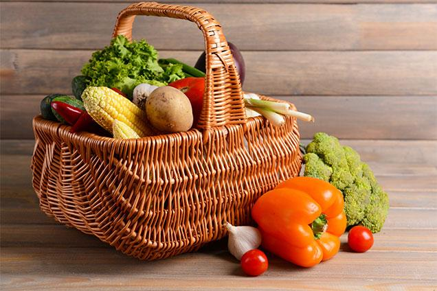 photo of a basket of vegetables